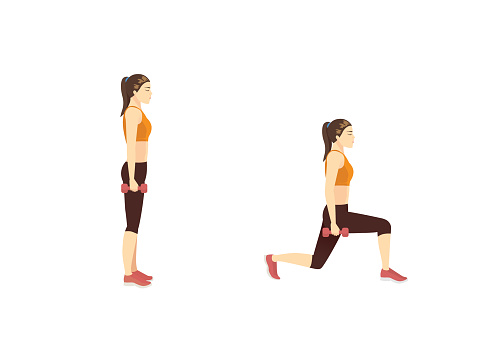 Woman doing exercise with Dumbbell Reverse Lunge in 2 step. Illustration about Fitness with lightweight equipment.