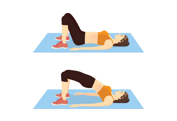 Woman doing exercise with Hip lift for firming her body. vector art illustration