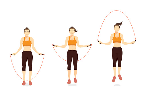 Woman doing Exercise with speed jumping rope in 3 step.