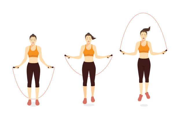 Woman doing Exercise with speed jumping rope in 3 step. vector art illustration