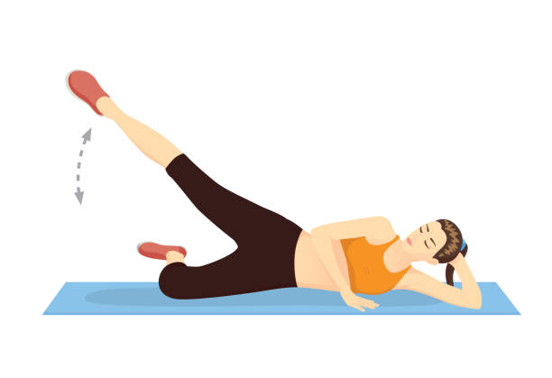 woman doing exercise with straight-leg raises to the outside. - ludzka noga stock illustrations