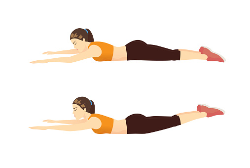 Woman doing exercise with Superman position in 2 step for guide.