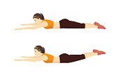 Woman doing exercise with Superman position in 2 step for guide. Illustration about Workout diagram.