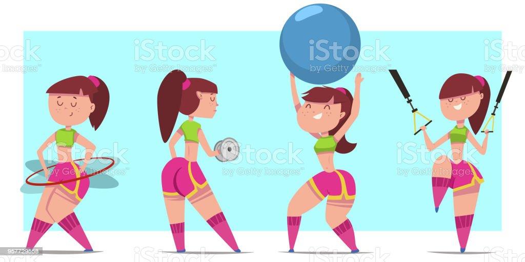Frau Macht Fitness Ubungen Mit Hanteln Fit Ball Hulahoop Und