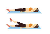 Woman doing Flutter Kicks Exercise in 2 step on blue mat. Illustration about abdominal workout position.