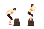 Woman doing High Box Jump exercise in 2 Step. Illustration about Workout diagram for guide.