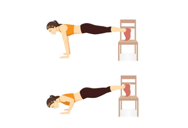 Woman doing home cardio workout by Step Decline Push Up with Chair in 2 step. Workout while stay at Home. vector art illustration