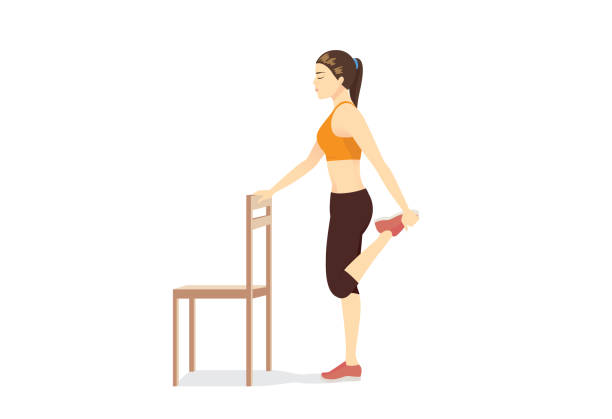 Woman doing Kneeling Quad Stretch on exercise mat and reaching hand out to her front. vector art illustration