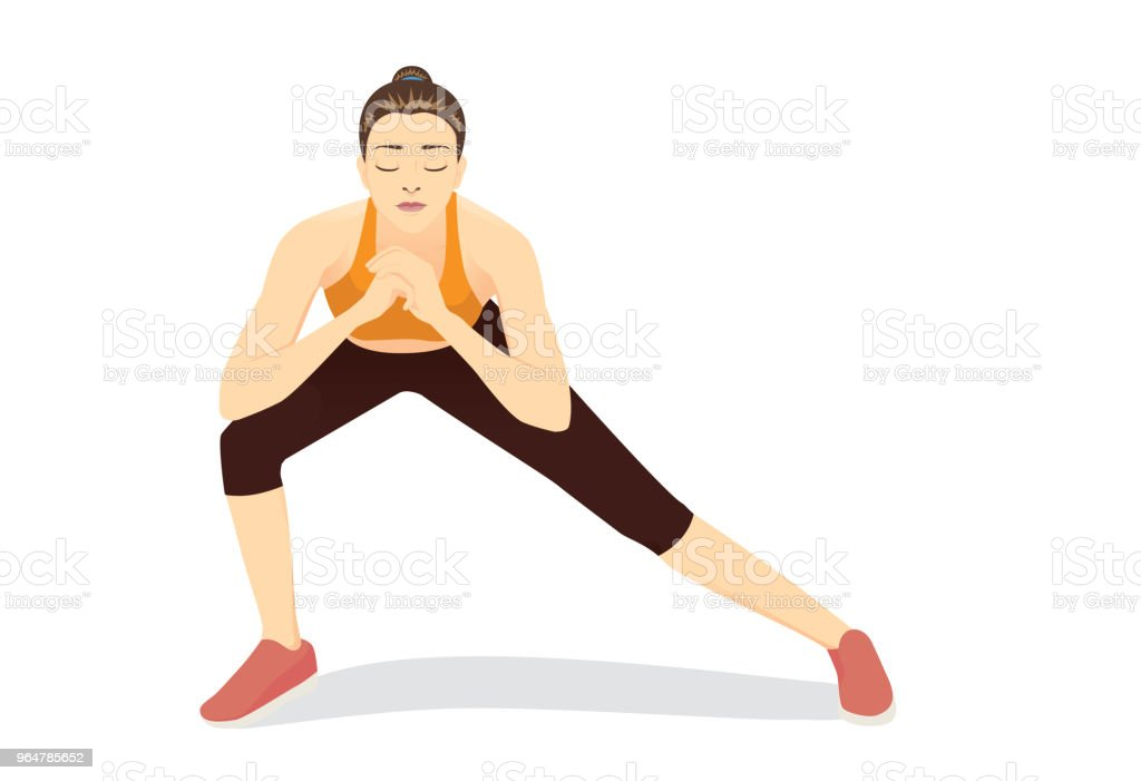 Woman doing Lunges Workout on isolated. royalty-free woman doing lunges workout on isolated stock vector art & more images of adult