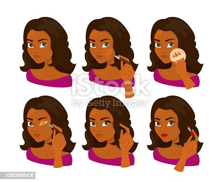 Woman doing makeup step by step. Facial care and beauty. Applying mascara and lipstick. Portrait of african american woman with beautiful eyes. Instructions for female beauty.
