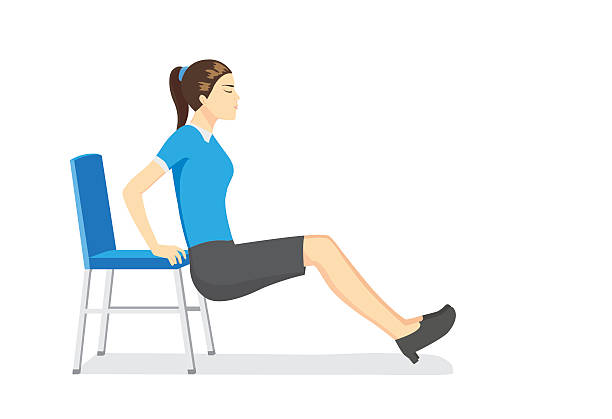 stockillustraties, clipart, cartoons en iconen met woman doing office stretching exercises with office chair - buigen lichaamsbeweging