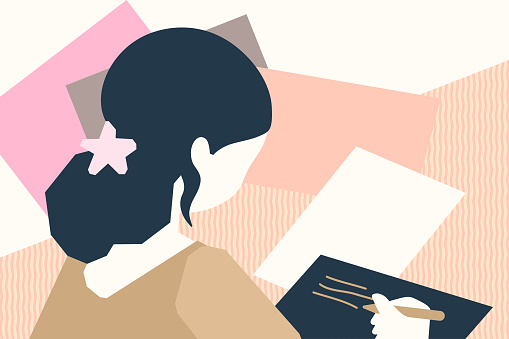 Back view of woman sitting at desk and writing (notes, letters, invitations…) on sheets of paper. Home office vector illustration.