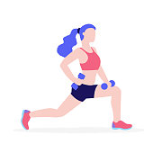 Woman doing physical exercises with dumbbells vector flat illustration isolated on white background. Girl in gym keeping healthy lifestyle concept illustration.