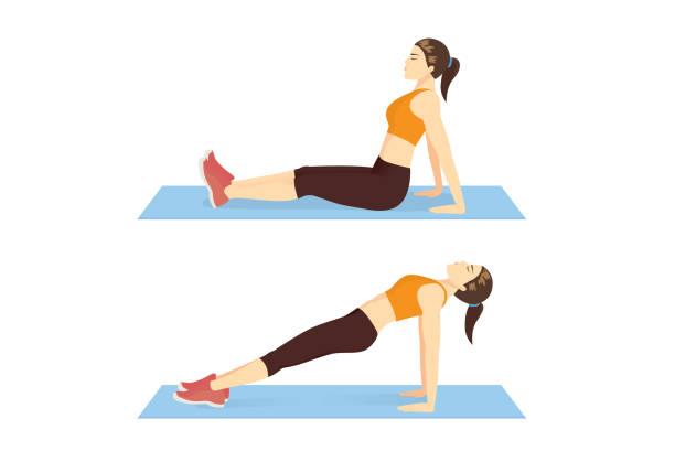 Woman doing Reverse Plank pose exercise and hold the position on blue mat. vector art illustration