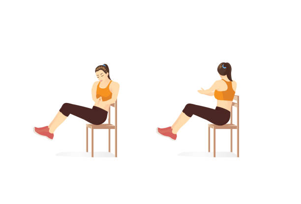 Woman doing Russian twist exercise in 2 step with Chair. Illustration about workout while lockdown. vector art illustration