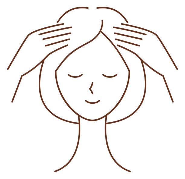 頭皮マッサージをしている女性 ベクターアートイラスト