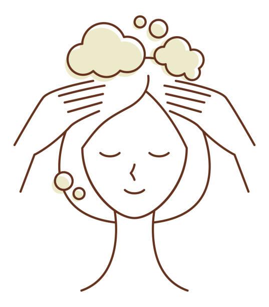 シャンプーと頭皮ケアをしている女性 ベクターアートイラスト