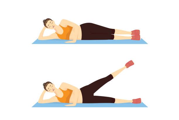stockillustraties, clipart, cartoons en iconen met vrouw doet side leg verhogen oefening met liggend in 2 stap op blauwe mat. - oppakken