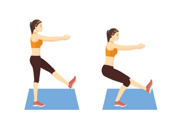 Woman doing single leg squat pose exercise in 2 step. vector art illustration