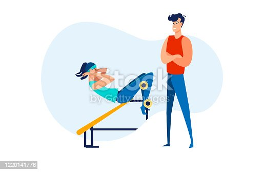 Woman doing sit ups in gym. Fitness instructor training customer, exercising, workout flat vector illustration. Sport, activity, lifestyle concept for banner, website design or landing web page