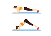 Woman doing Sliding Pike Exercise on blue mat for guide. Illustration about side abdominal workout.