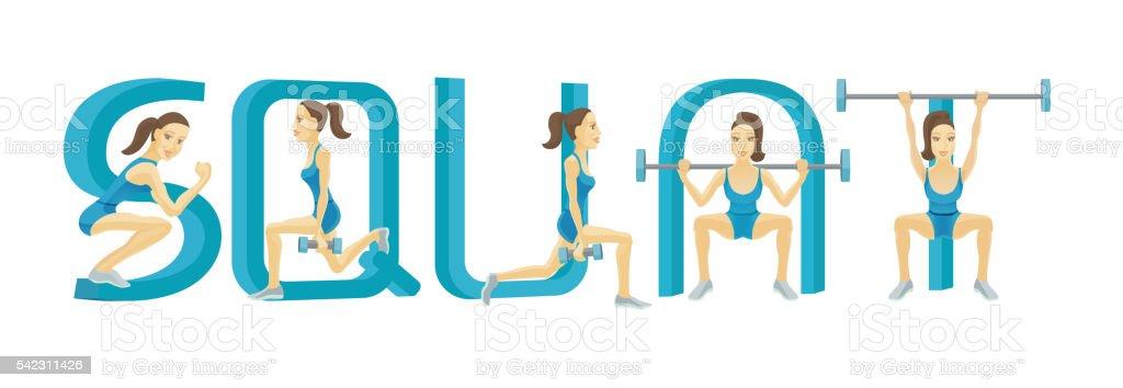 Woman doing squat exercises vector art illustration