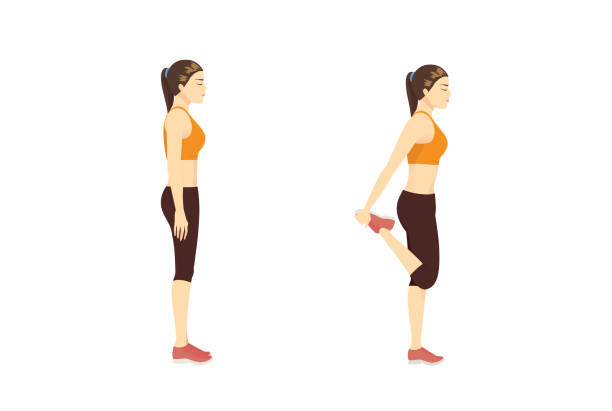 Woman doing Stretch Exercise with Quadriceps Stretch while standing. vector art illustration