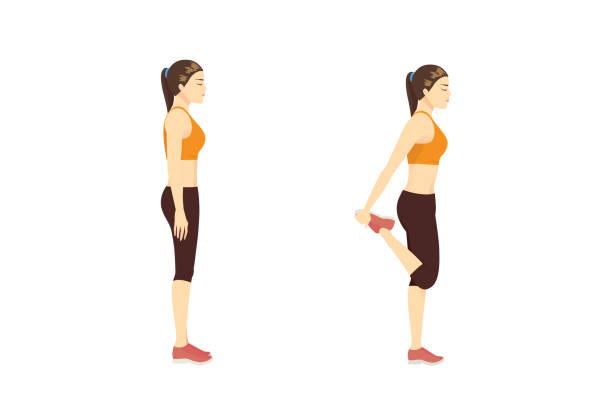 bildbanksillustrationer, clip art samt tecknat material och ikoner med kvinna gör stretch övning med quadriceps stretch medan du står. - lem kroppsdel