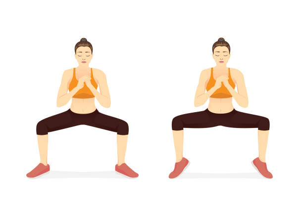 Woman doing Sumo Squat With Calf Raises for reduce fat leg. vector art illustration