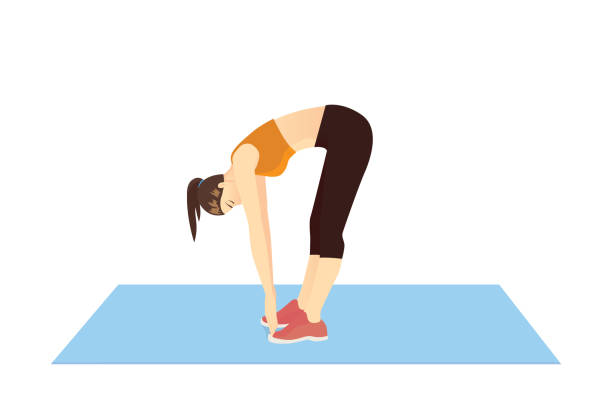 Woman doing Toe Touch Stretches Exercise in standing posture on mat. Woman doing Toe Touch Stretches Exercise in standing posture on mat. Illustration about warm up and cool down and workout. bending stock illustrations