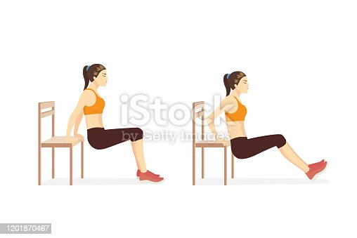 Woman doing Triceps Dips with bench in 2 step for exercise guide. Illustration about workout for build strength triceps brach ii muscle.