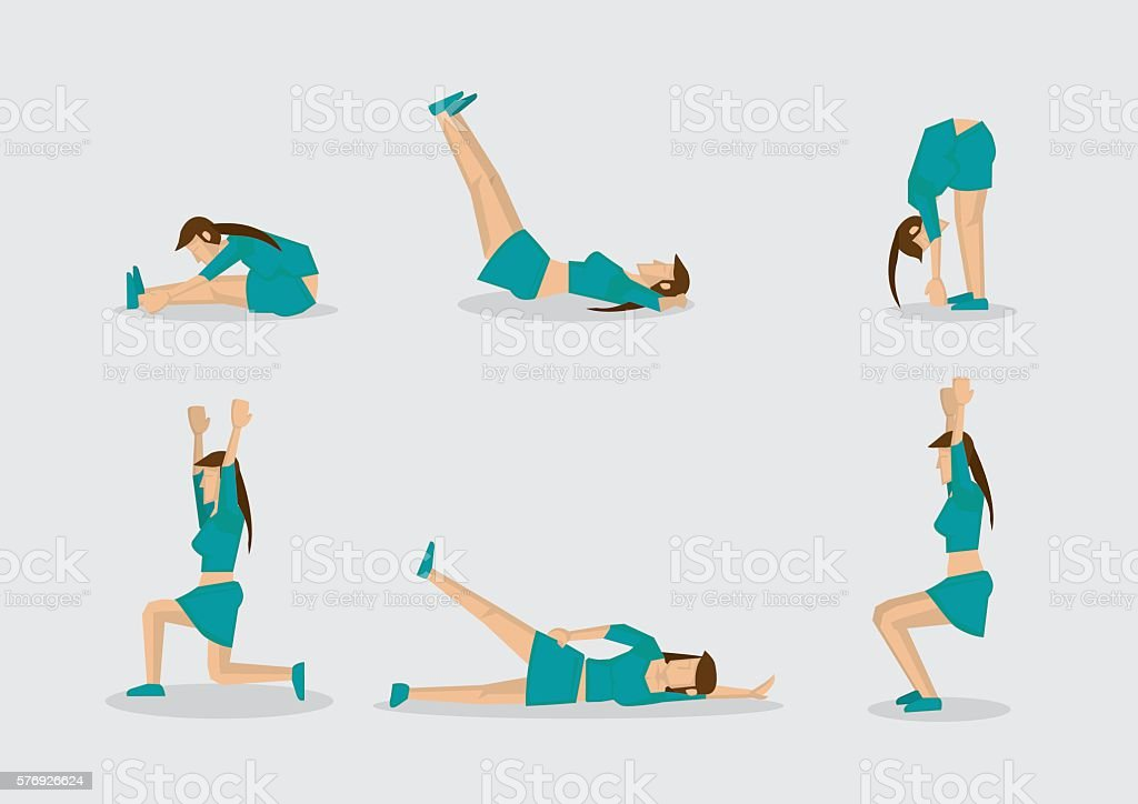Woman Doing Work Out Routine Vector Character Illustration – Vektorgrafik