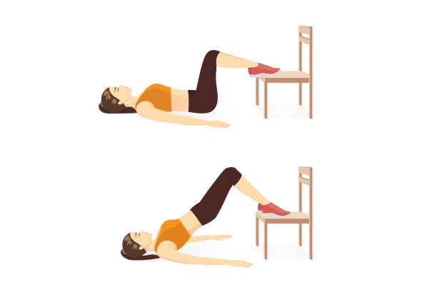 Woman doing workout with Hip Raise with two Legs on chair for firming her body. vector art illustration