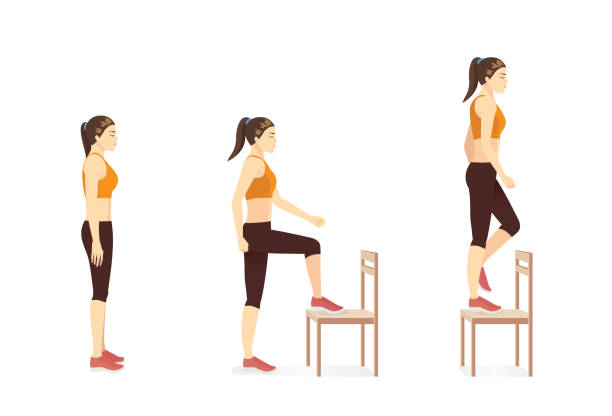 Woman doing workout with Step up exercise by Stepping on the chair and standing. Workout while stay at Home. vector art illustration