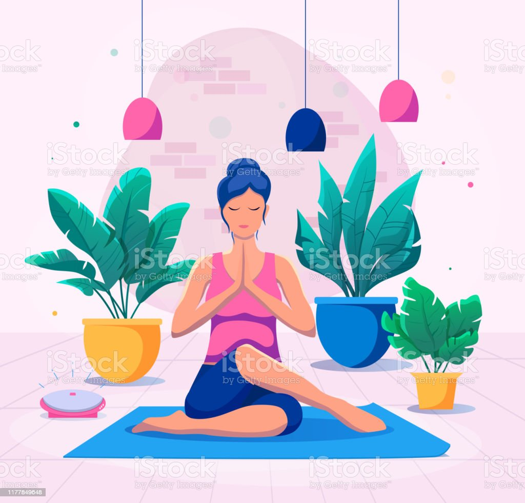 Woman Doing Yoga At Home Vector Illustration Healthy Lifestyle Stock Illustration Download Image Now Istock