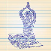 Line drawing of Woman doing Yoga, Elements are grouped.contains eps10 and high resolution jpeg.