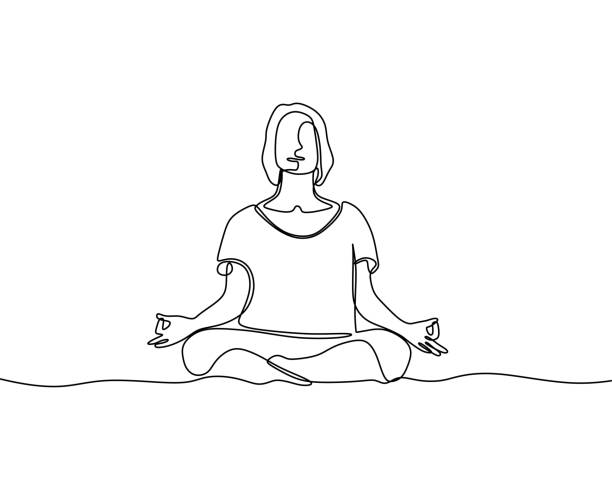 Woman doing yoga exercise continuous one line vector illustration minimalism style Woman doing yoga exercise continuous one line vector illustration minimalism style human body part stock illustrations