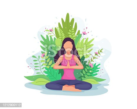 istock Woman doing yoga exercise 1212900112
