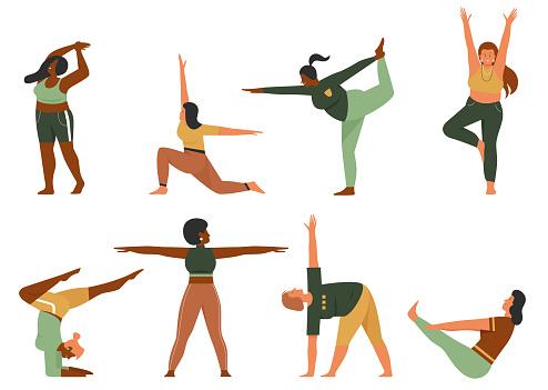 Woman doing yoga pose set, cartoon happy plus size female yogist character in sportswear