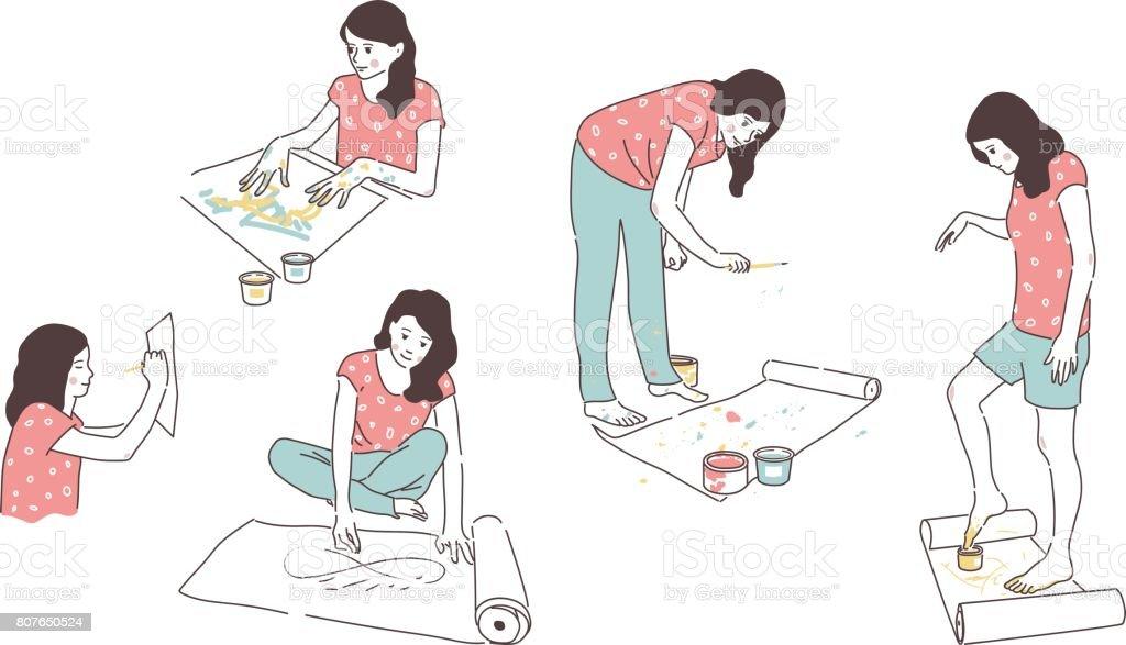 Soyut Resimler Fırça Elleri Ayakları Ve Kapalı Gözler Ile çizim Bir