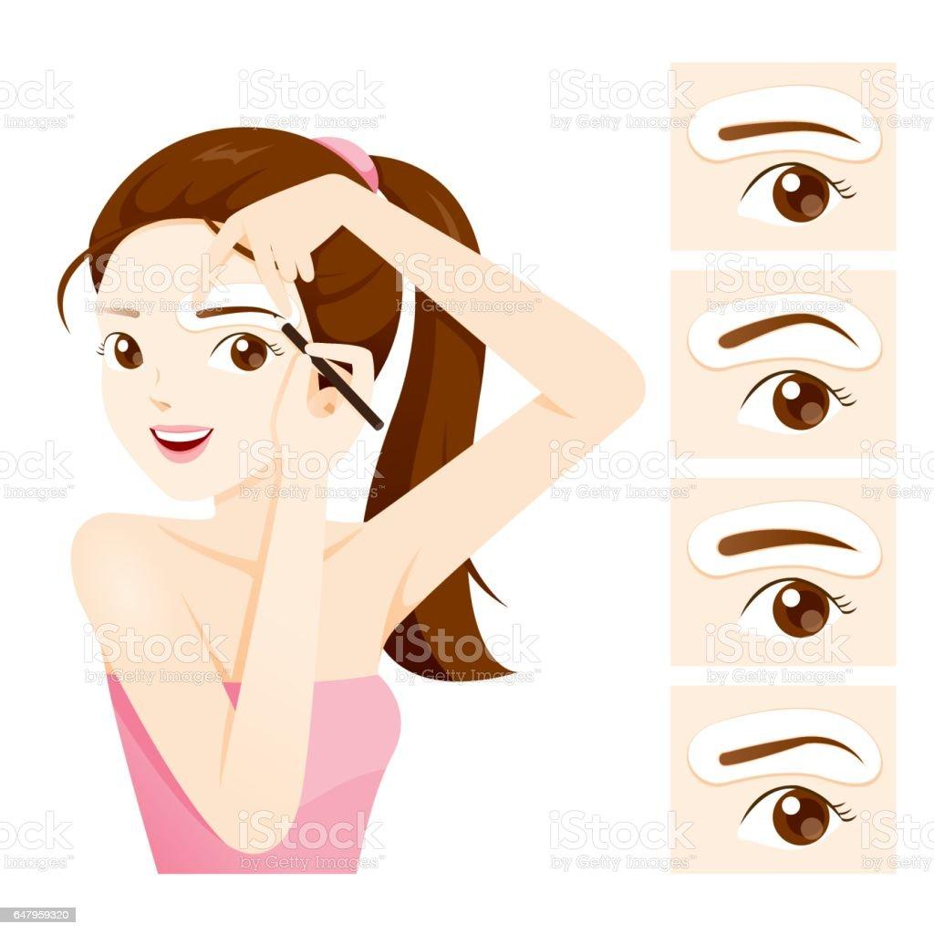 Frau, die ihre Stirn von Augenbraue-Schablonen zeichnen – Vektorgrafik