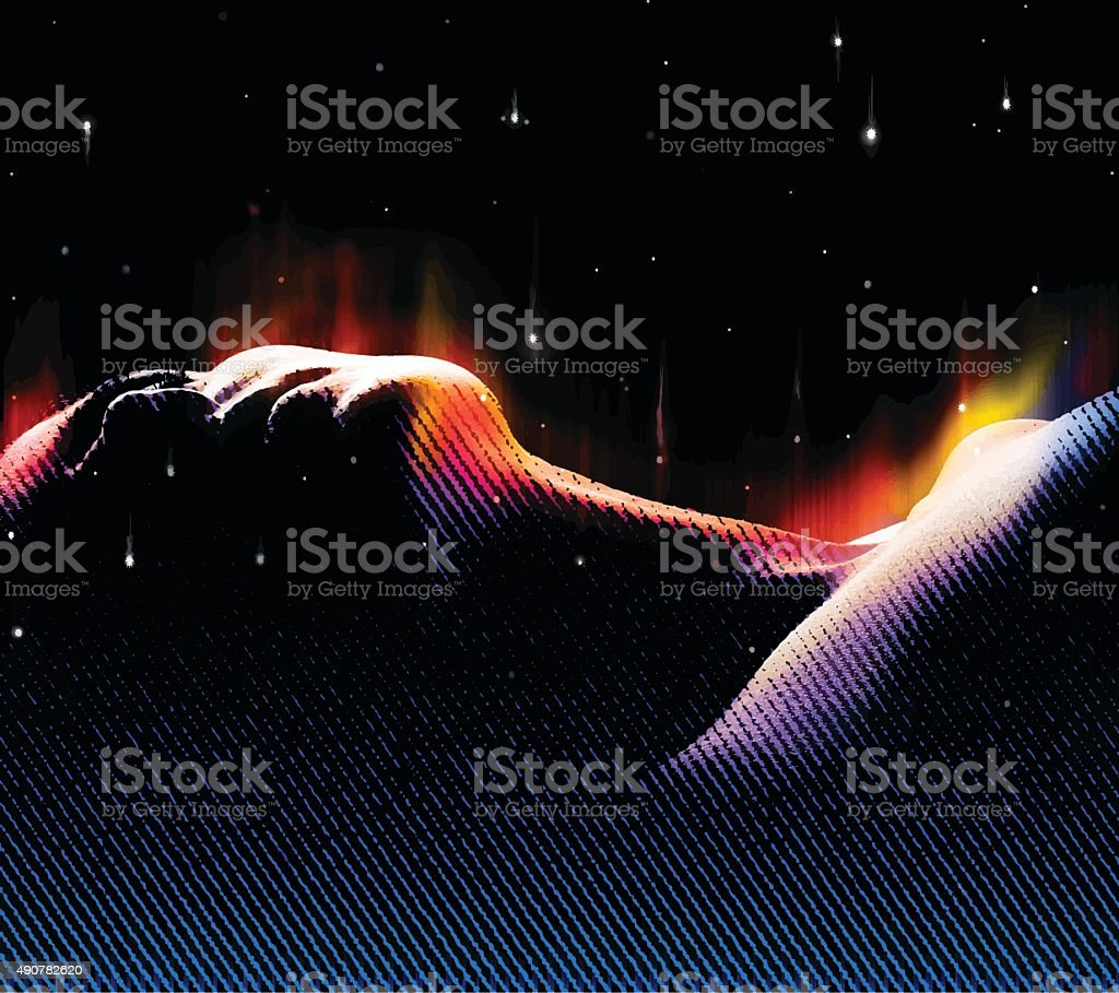 Woman Dreaming with Northern Lights And Space vector art illustration
