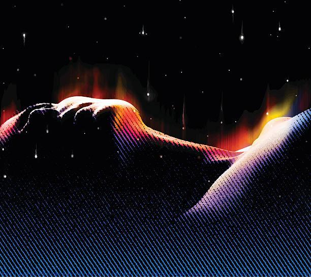 bildbanksillustrationer, clip art samt tecknat material och ikoner med woman dreaming with northern lights and space - northern lights