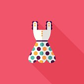woman dress flat icon with long shadow,eps10