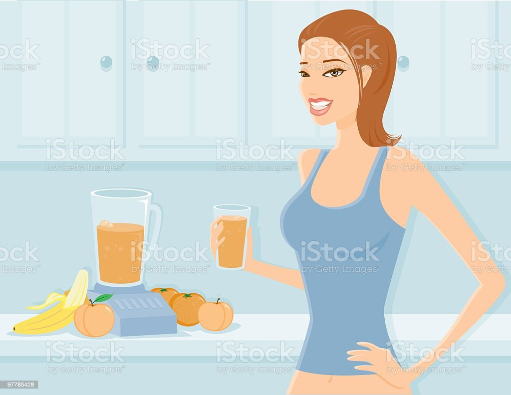 Woman Drinking a Fruit Smoothie royalty-free stock vector art