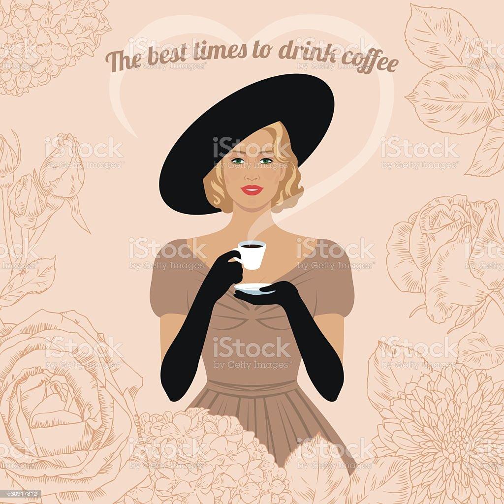 Woman drinking coffee vector art illustration