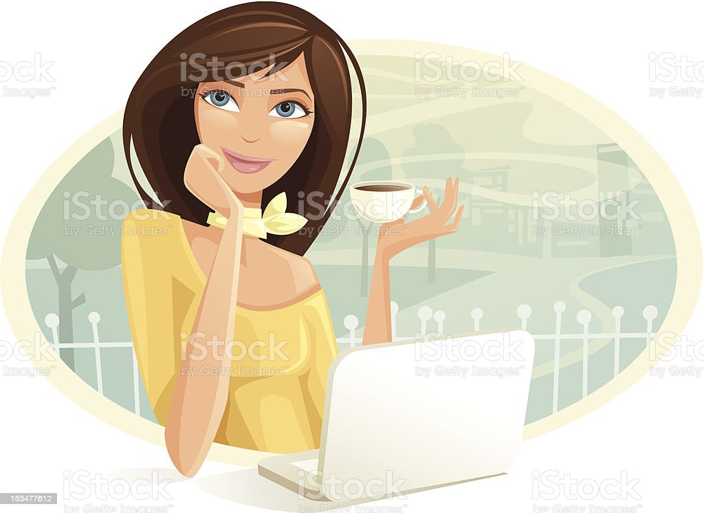 Woman Drinking Coffee While Using Laptop In Cafe vector art illustration