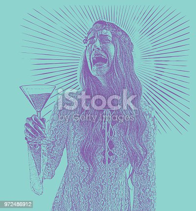Engraving illustration of a Woman drinking martini and crying