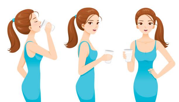stockillustraties, clipart, cartoons en iconen met vrouw het drinken van melk voor de gezondheid. goede vorm vrouw in blauwe jurk. - woman water