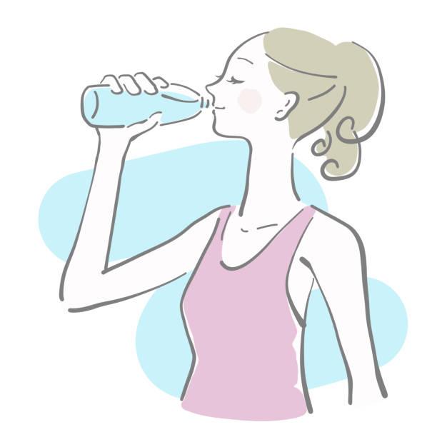 A woman drinking water vector art illustration